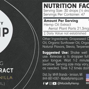 Hemp Extract 1oz (1000mg CBD) French Vanilla Flavour