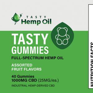 Tasty Hemp Gummies (40ct / 25mg ea) Assorted Fruit Flavors